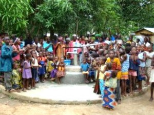 A very happy community with a new well