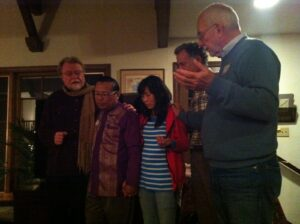 Paul and Ruth receive prayer during visit to Laguna Beach, 2013