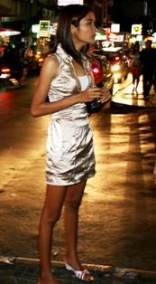 Girl on streets of Bangkok red light district