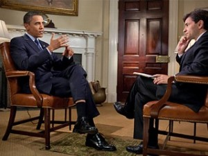 President Obama interviewed by ABC's George Stephanopoulos
