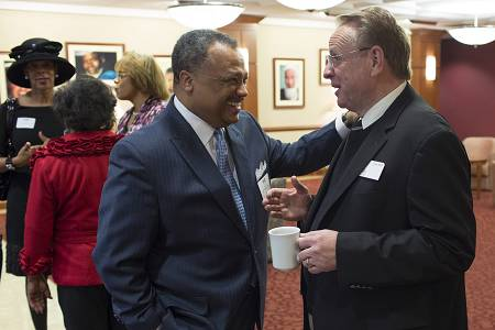 Southern Baptist Convention President Fred Luter, left, and IMB President Tom Elliff greet each other .