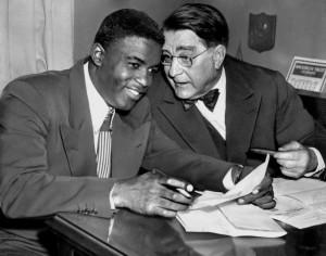 Robinson with Rickey, 1950