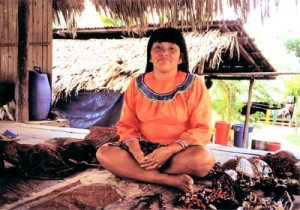 Shipibo woman in her home