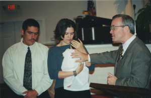 Before the accident, Billy Jack (left) with wife, Aleta, at dedication of their daughter, Carney
