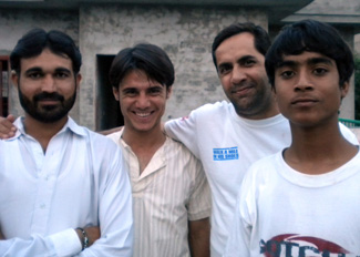 Aman Ullah (second from left) with friends