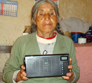 Sister Luz with digital audio player