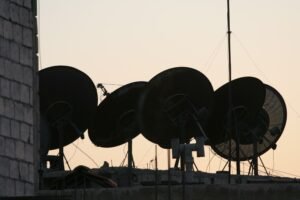 Satellite dishes can be seen on the rooftops all over the Middle East