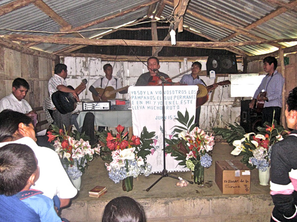 Worship service among the Totonac in mountains of eastern Mexico