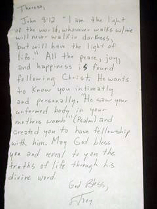Letter to Teresa from Joey, encouraging her in her faith
