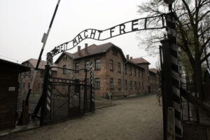 "Entry gates at Auschwitz ""Work Brings Freedom"""