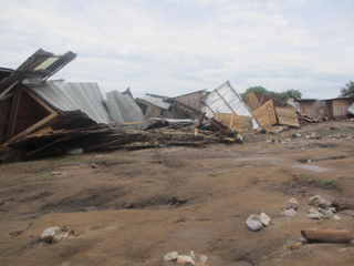 Houses destroyed by flooding
