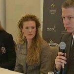 Attorney Ruth Nordström and attorney Roger Kiska of Alliance Defending Freedom flank Ellinor Grimmark at press conference
