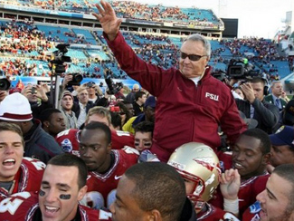 Bowden on players' shoulders after big win