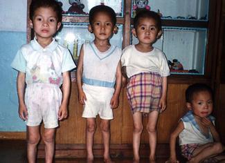 North Korean kindergarten children in Pyongyang City, 1997