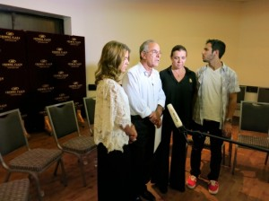 Max Steinberg's parents Stuart and Evie, and siblings, Jake and Paige, speak to the press at the shivah