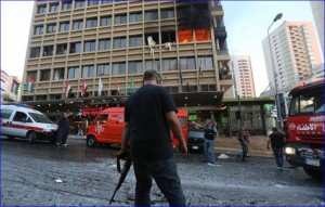 Security forces cordon off the area surrounding the Duroy hotel in Beirut after a suicide bomber blew himself up on the third floor (photo: Marwan Tahtah)