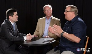 Rick Warren (right), pastor of Saddleback Church, speaks in a video panel with Russell D. Moore (left) of the SBC Ethics & Religious Liberty Commission, and Kentucky pastor Tony Rose, chairman of a Mental Health Advisory Group