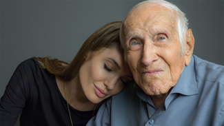 Jolie with Zamperini, shortly before his death