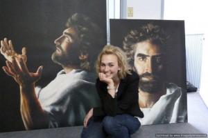 Akiane with Jesus paintings