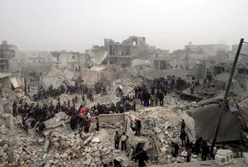 Aleppo bomb damage