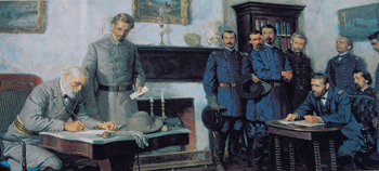 A painting at the Appomattox Courthouse, now a national park, depicts Lee signing the surrender documents.