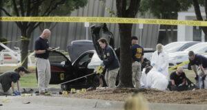 The crime scene in the Garland neighborhood of Dallas.