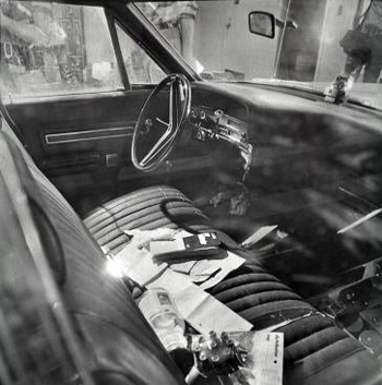 Front seat of Ford Galaxie on day of capture