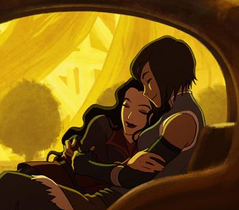 Korra and Asami share a romantic moment (Bryan Konietzko)