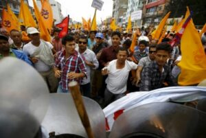 Police battled violent protests as Nepal struggled to draft its new constitution.