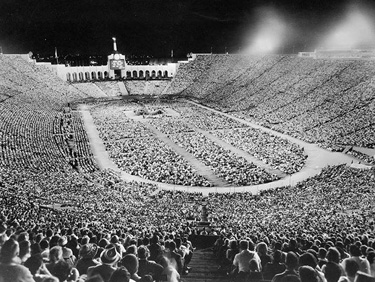This photo is from the largest gathering in the L.A. Coliseum's history. It was a Billy Graham crusade on September 8, 1963 with 134,254 in attendance, noted by the Coliseum's website. -- David Farrow