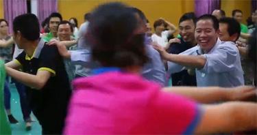 Conga-like dancing in church