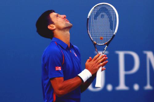 Saying thanks to God, Novak Djokovic on the court