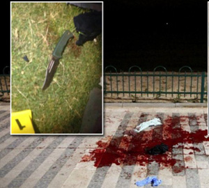 Murder weapon used at bloody scene