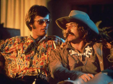 "Peter Fonda (left) with Dennis Hopper in ""Easy Rider"""