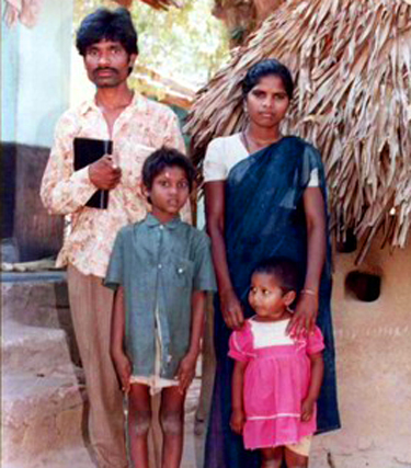 Ballipati with his wife and two children
