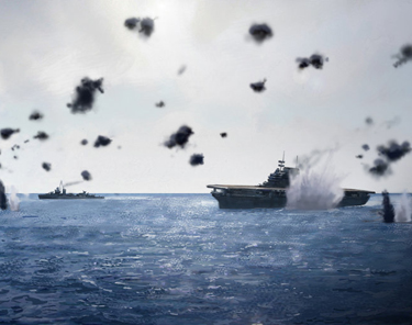 Moment when Yorktown hit by torpedo (Alton Design Studio)