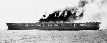 Yorktown on fire