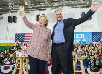 Hillary Clinton with Tim Kaine