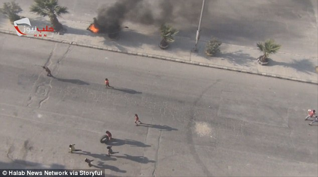 The burning of tires as seen from the air