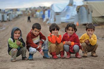 Refugee children in camp in Erbil