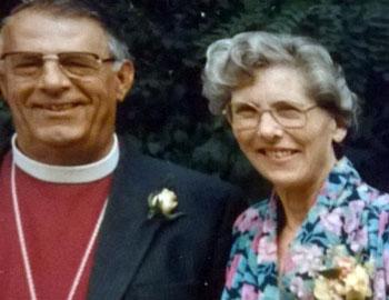 Margaret Dehqani-Tafti stands next to her husband, Bishop Hassan